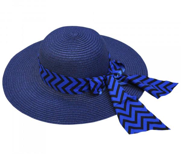 Krempenhut mit Schleife blau